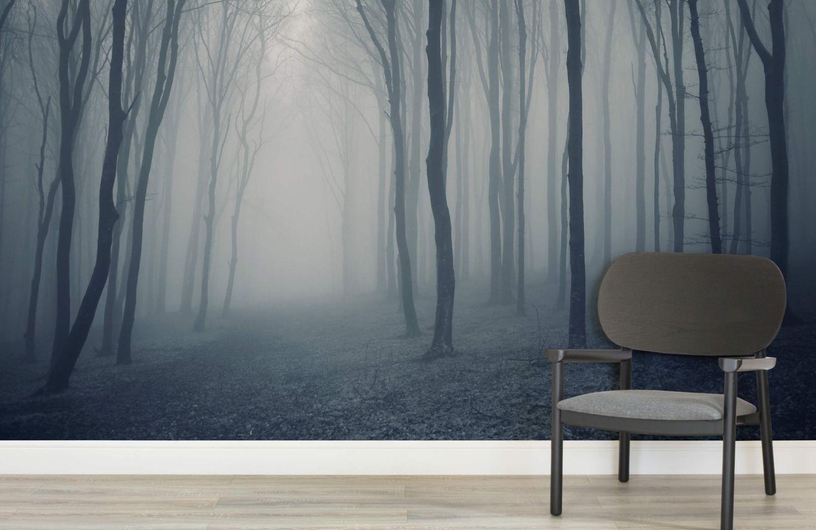1155843266d8 Grey Mist Forest Wallpaper Wall Mural