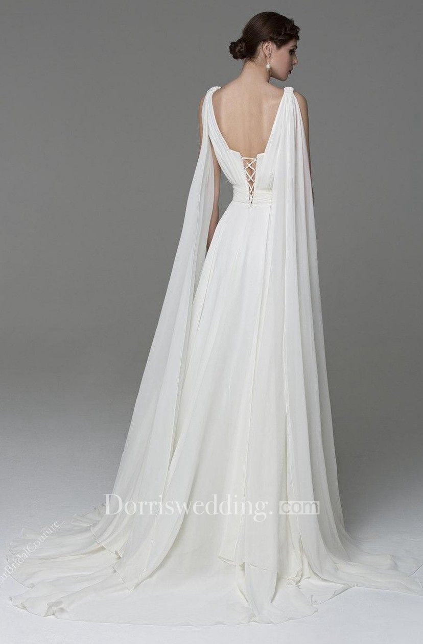Chiffon V-Neck Sleeveless A-Line Dress With Lace-Up Back #greekweddingdresses