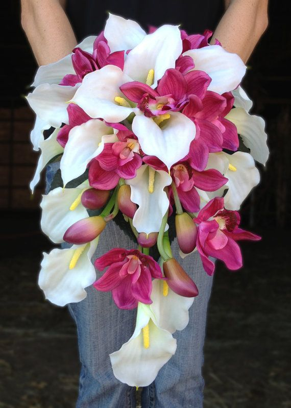 orchid flower for wedding white calla and pink orchid cascading bouquet 6289