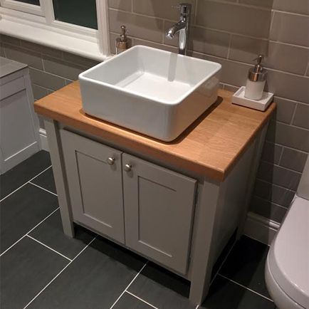 Photo of Manor House Grey Vanity Unit with Solid Oak Top