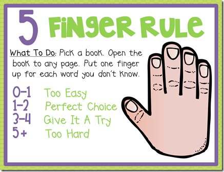 Image result for images for five finger rule for right fit book