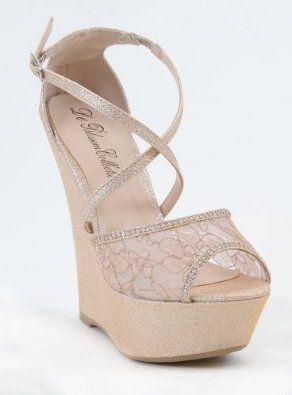 4a7fd3ac42489 Amazon.com: Strappy Glitter Lace Rhinestone Detail Formal Wedge ...