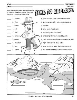 Worksheets Landforms And Bodies Of Water Worksheets 17 best images about landforms on pinterest definitions student and learning