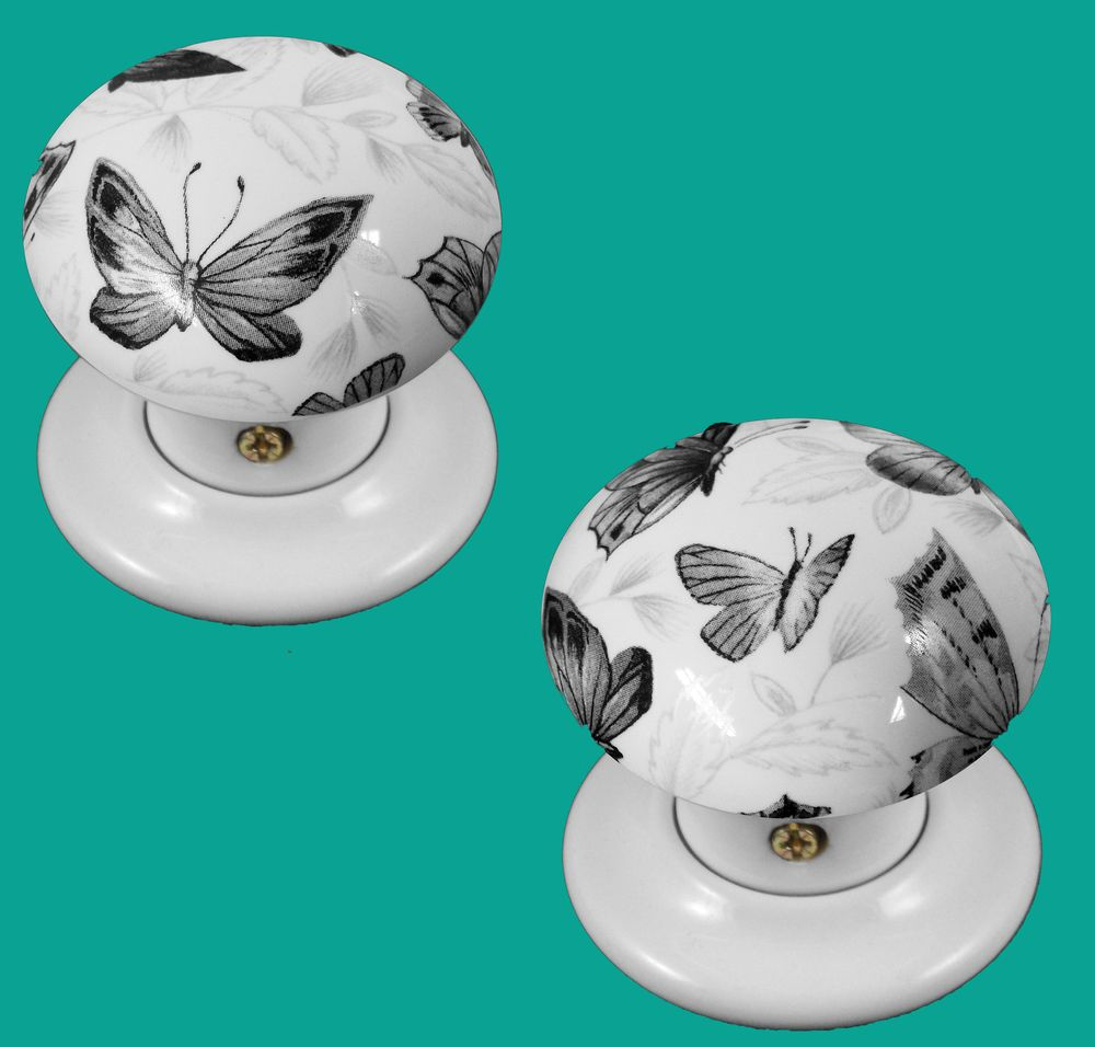 China/Porcelain Mortice Door Knob White With Black Butterflies ...