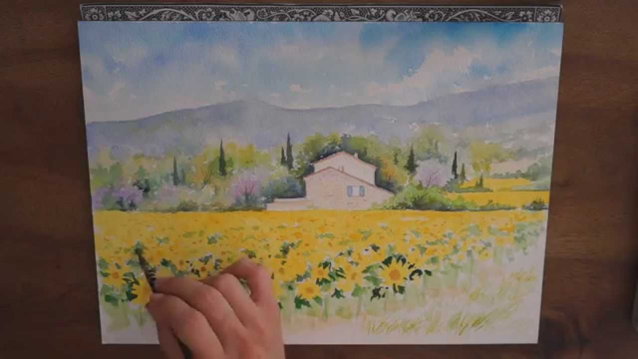 Demo Aquarelle La Maison Aux Tournesols Watercolor Tutorial