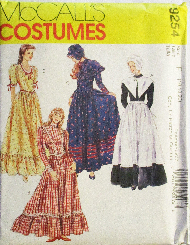Craft Sewing Pattern McCalls 9254 Misses Costumes Prairie Dress ...