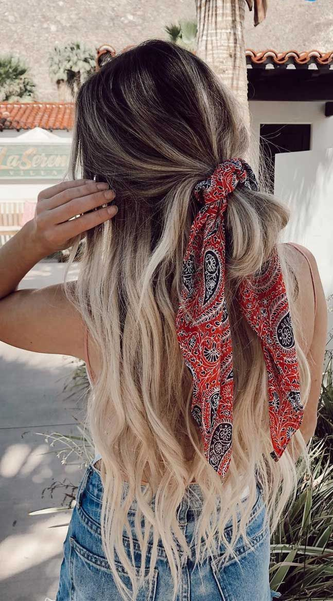 45 Pretty Ways To Style Your Hair With A Scarf #hairscarfstyles 45 Pretty Ways T…
