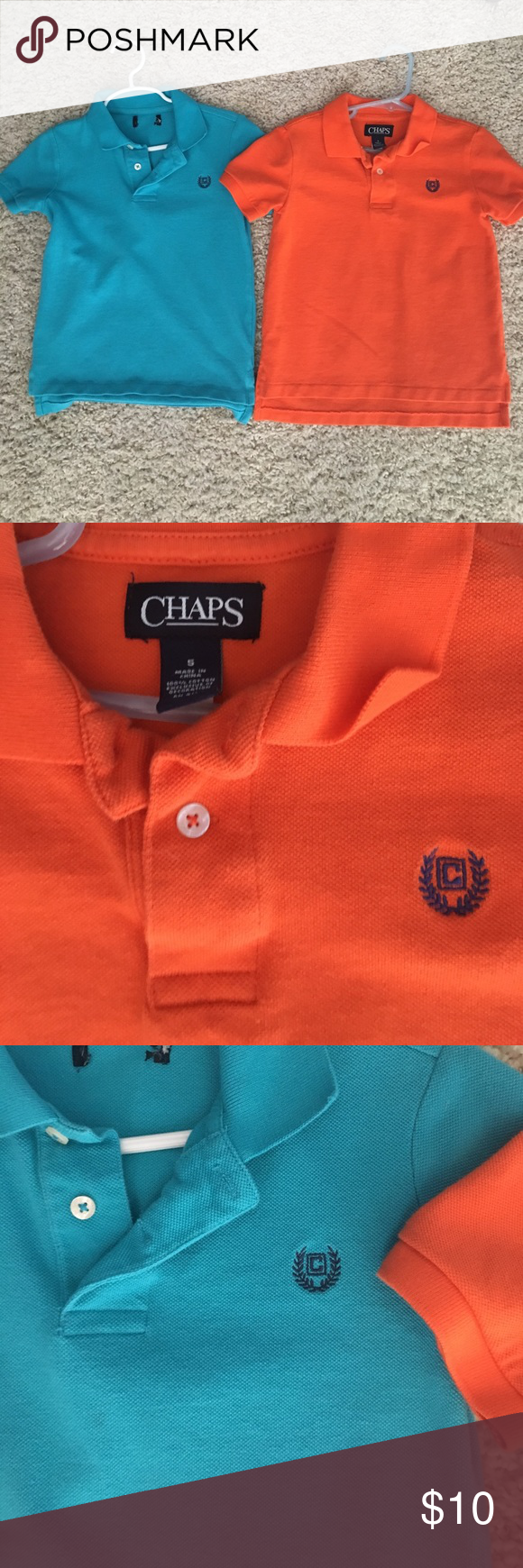 Boys polo shirts size 5 In excellent condition. My kids hated shirts with collars, so they never wore these!  Lol.  From a non-smoking home. $10 takes both Chaps Shirts & Tops Polos