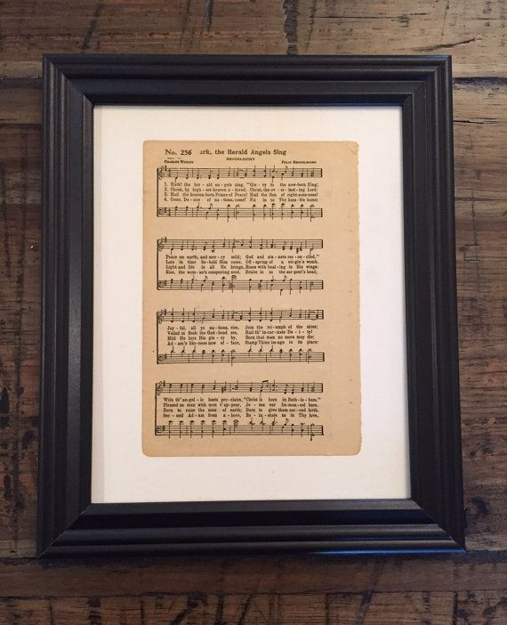 Hark The Herald Angels Sing Vintage Hymn Sheet by VintageHymns