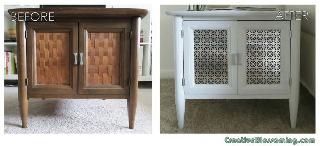 Before and After mid-century modern vintage MCM side end table light gray silver  latex paint bowtie handles union jack sheet metal makeover...