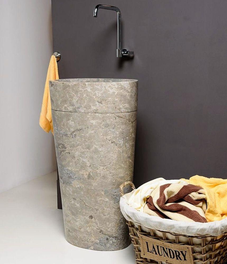 Wohnfreuden Marmor Stand Waschbecken 50x35x90 Cm Grau Rund Saule Gaste Wc Ebay Waschbecken Gaste Wc Waschbecken Gaste Wc