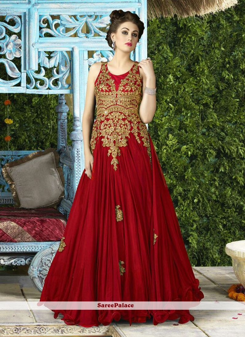 Beautiful Net Embroidered Work Designer Gown | Designer Gowns ...