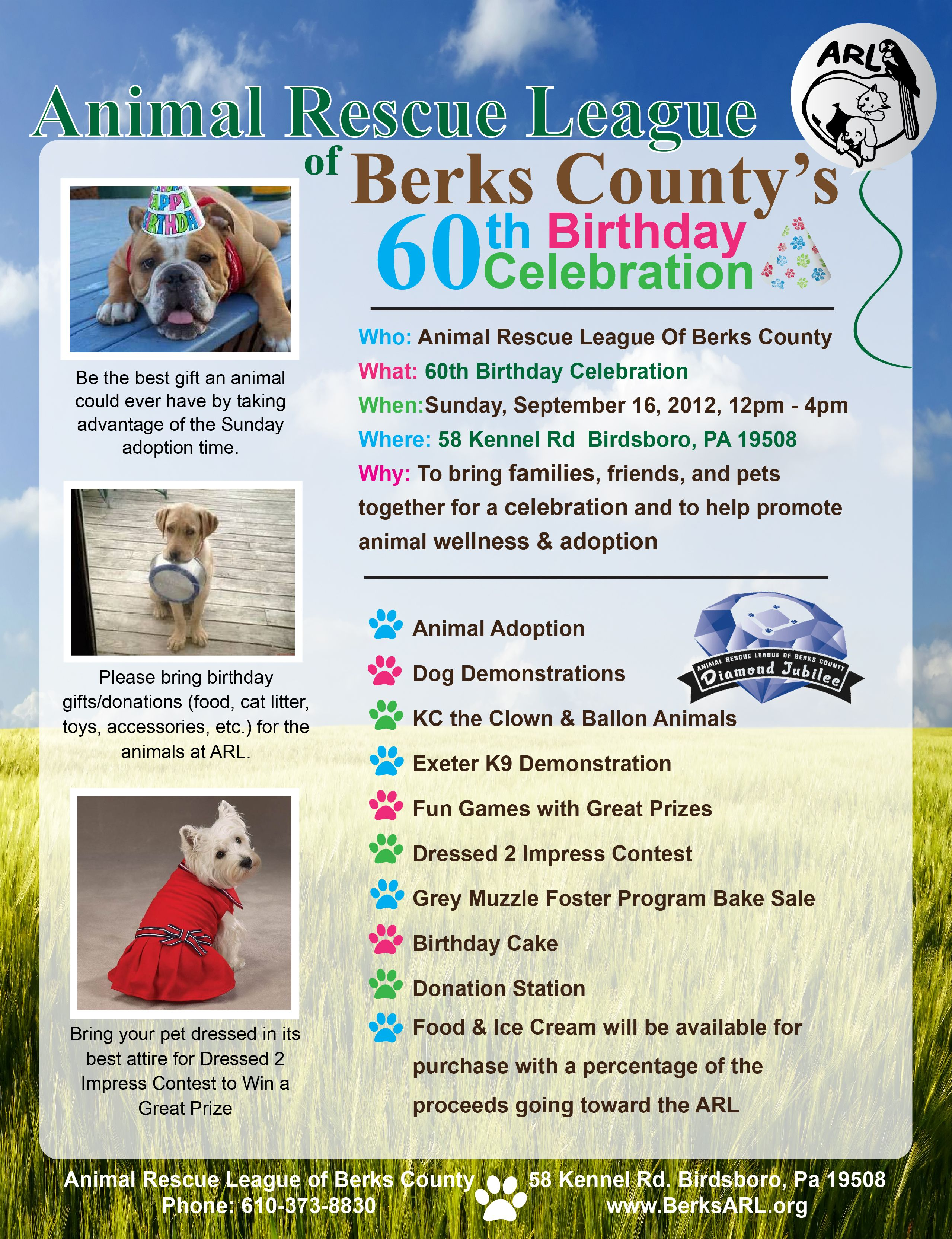 The Animal Rescue League Celebrates Its 60th Anniversary This Year Come To The Party On Sept 16 At The Shelter Animal Rescue League Animal Rescue Rescue