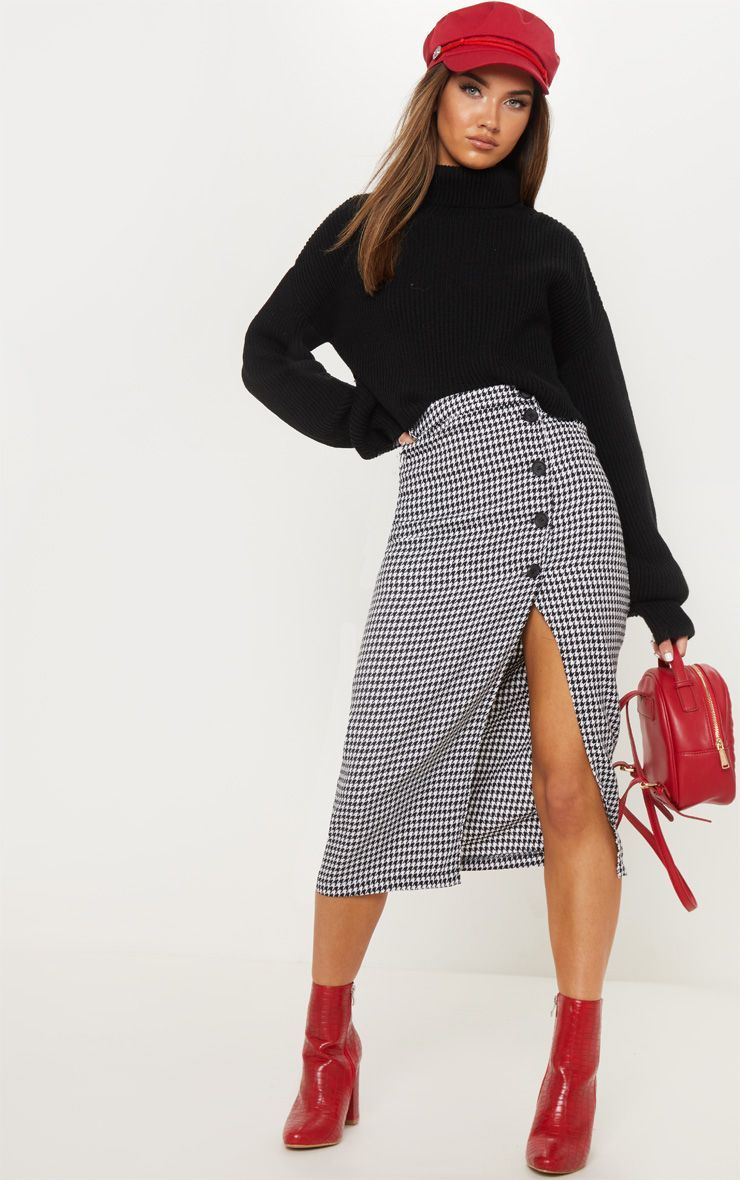 a2ce5588079b Monochrome Checked Skirt Outfit, Red Skirt Outfits, Midi Skirt Outfit, Black  Midi Skirt