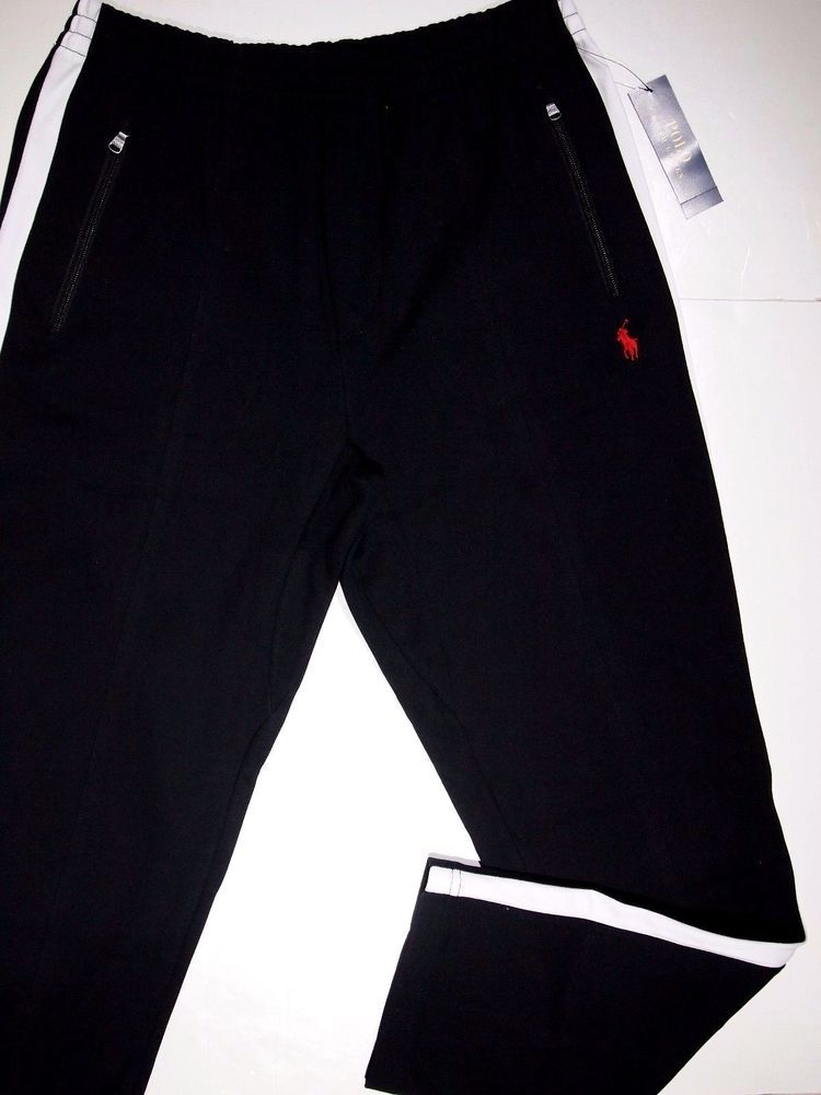 1ea518aefc61 Polo Ralph Lauren interlock men s track pants size medium BLACK PIPE IN  WHITE  PoloRalphLauren  TRACKPANTS
