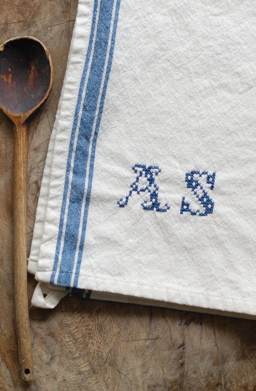 Monogrammed French Blue Stripe Kitchen Towel with Personalized Hand ...