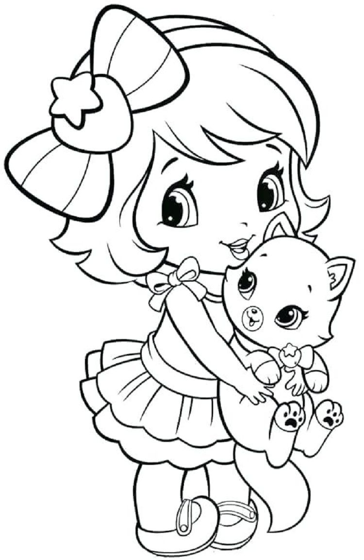 A Girl and Kitten Coloring Pages  Coloriage dessin animé, Dessin