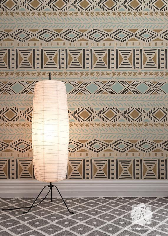 Geometric African And Tribal Pattern For Painted Accent Walls   Royal  Design Studio Wall Stencils