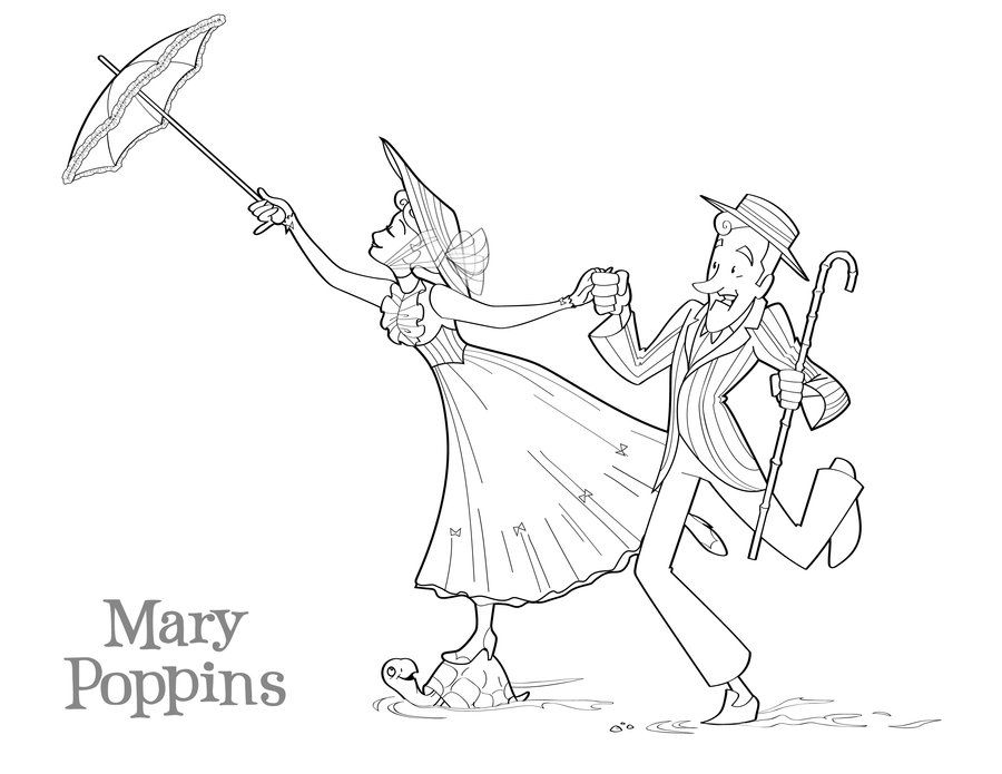 Mary Poppins Coloring Page By Betterthanbunnies Disney Coloring