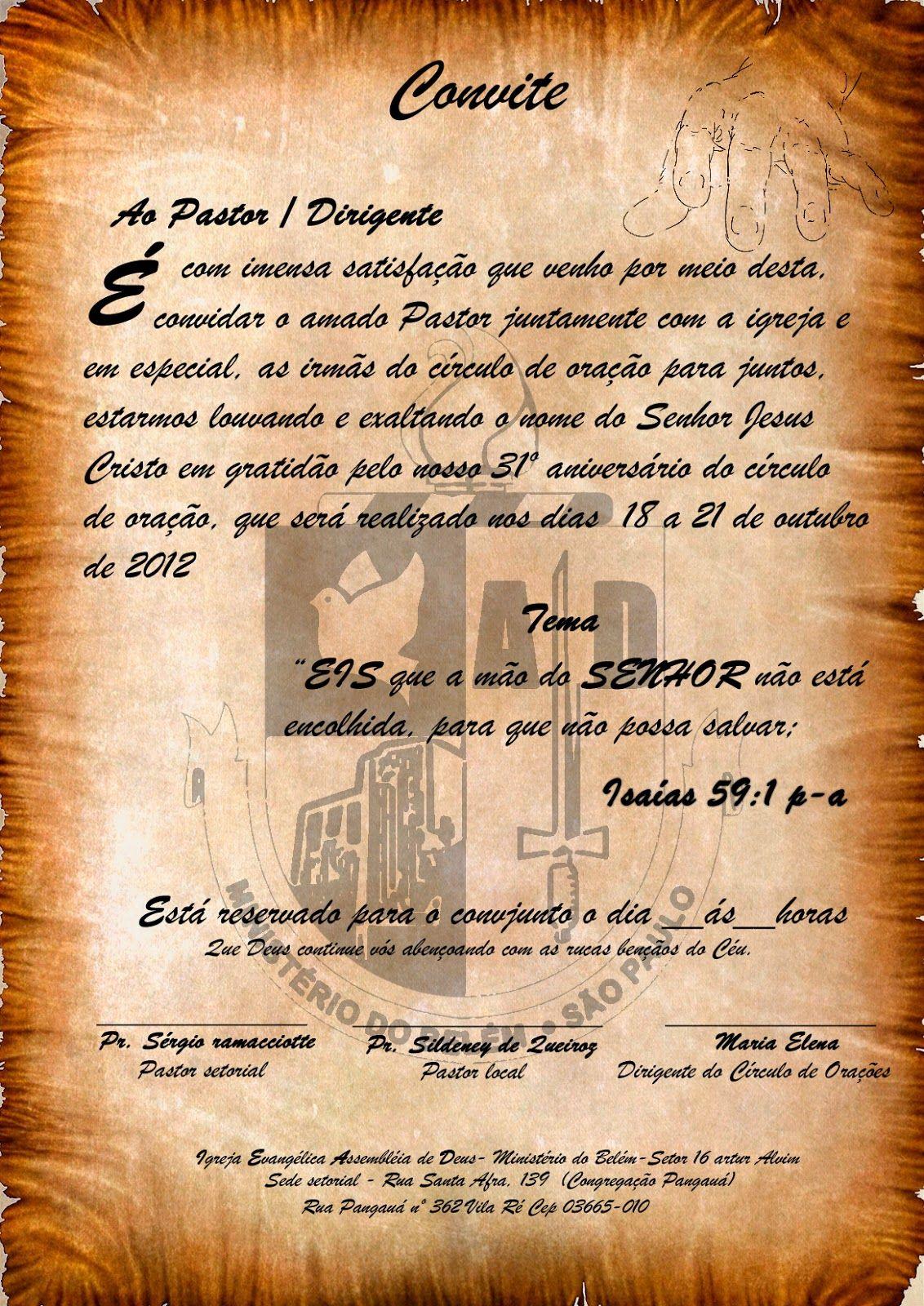 Resultado De Imagem Para Carta Convite Para Igreja Com Imagens