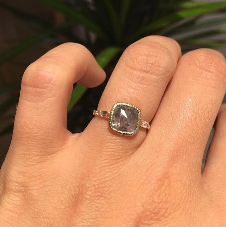 Custom Square Gray Diamond Baguette Equilibrium ring.