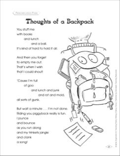 graphic organizer to teach personification poem thoughts of a  graphic organizer to teach personification poem thoughts of a backpack