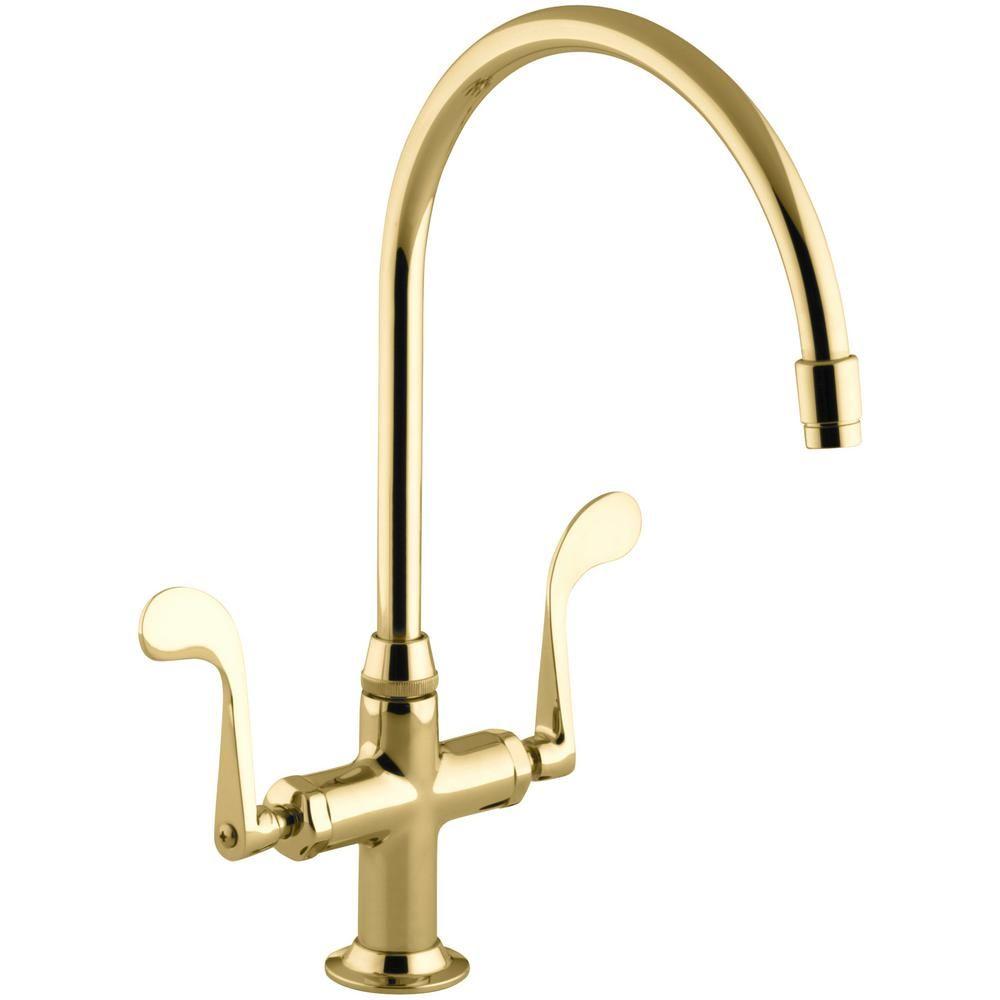 Kohler Es 2 Handle Standard Kitchen Faucet In Vibrant Polished Br