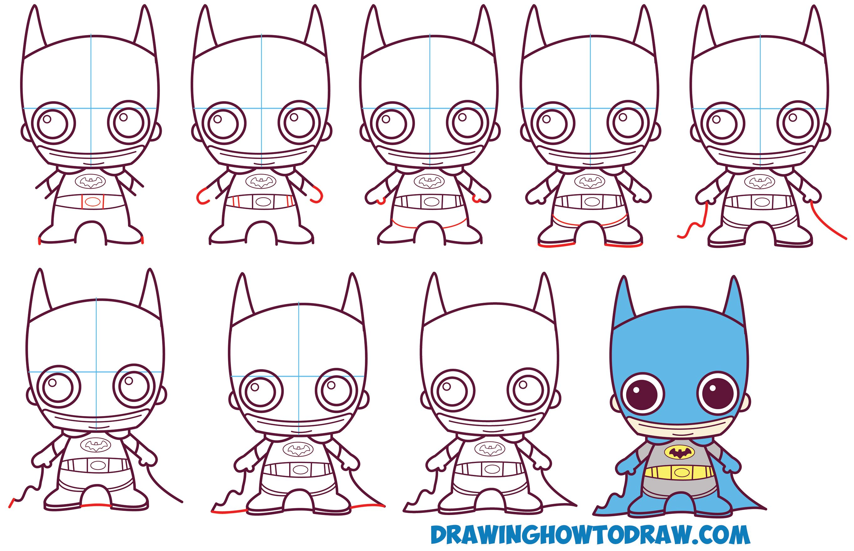 How to Draw Cute Chibi Batman from DC Comics in Easy Step by Step ...