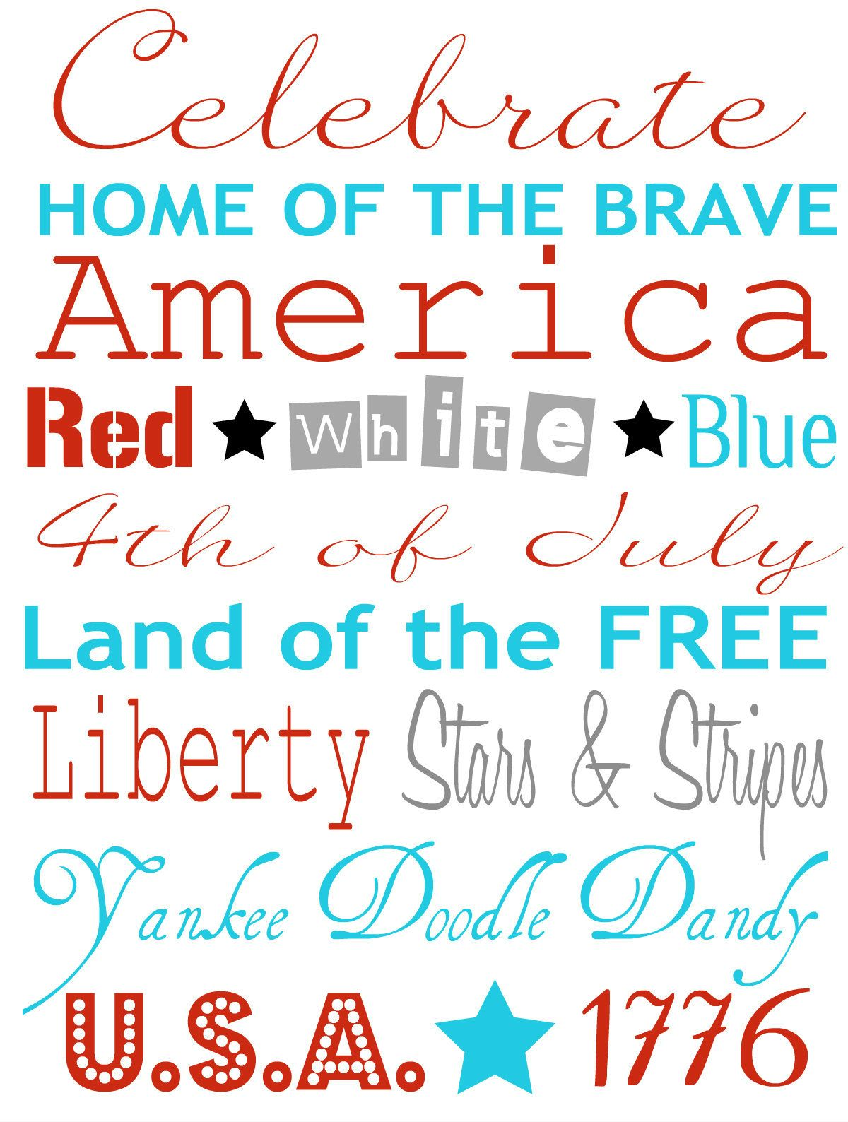 4th Of July Patriotic Cupcake Topper Amp Frameable Quote
