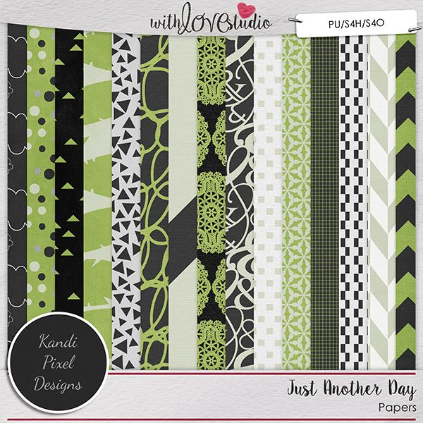 Just Another Day Pattern Papers from Kandi Pixel Designs. What is 'just another day' for you? What does a day in the life of YOU consist of? With the trend of documenting everyday and keeping weekly 'photo books/scrapbooks' many scrappers are finding a need for more versatile kits. With the dark tones, bold green, and soft whites, this digital scrapbooking kit offers all the versatility you need to scrap your everyday life.