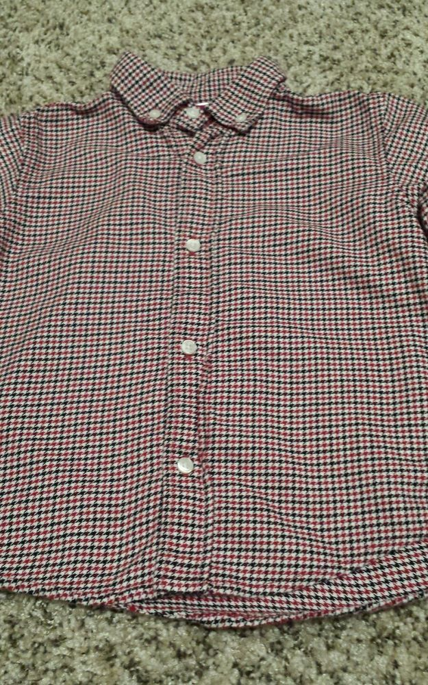 Toddler Boy 3T Gymboree Houndstooth Red Black Holiday Button Down Long Sleeve  #Gymboree #Holiday