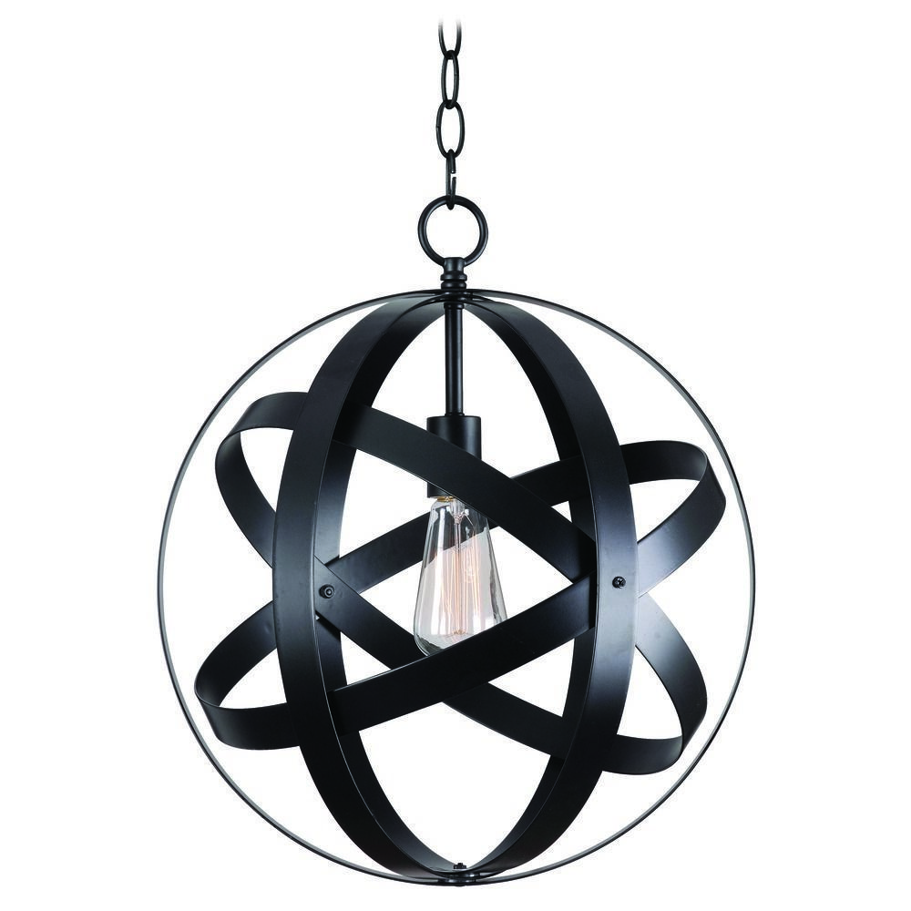 Powell Led 7 Globe Pendant Black Globe Glass Globe