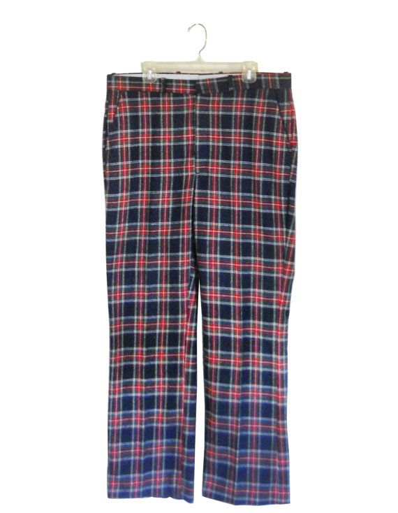 Ugly Christmas Sweater Party Vitnage Men's Plaid Tartan Wool Pants by #ShineBrightVintage