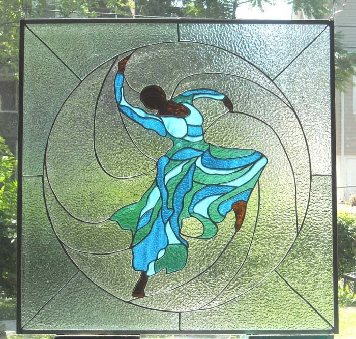 African Sand Stained Glass: Judith Jamison Stained Glass Panel