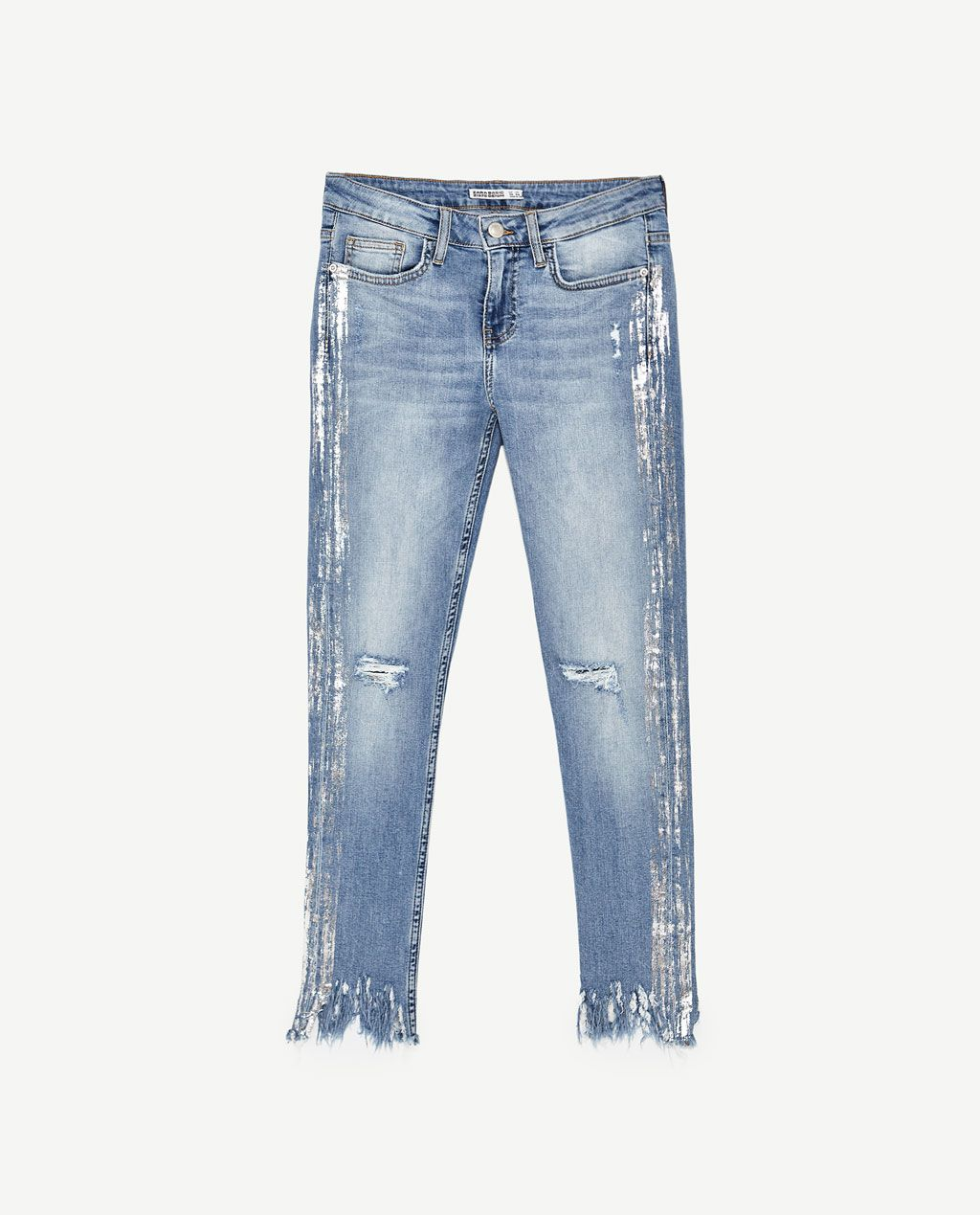 eae9f91a Image 11 of MID RISE SILVER-TONED JEANS from Zara | Denim Trends in ...