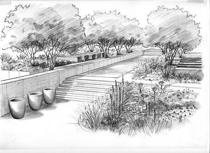 Image Result For Landscape Architecture Hand Drawn Perspective Landschaftsskizze Landschaftszeichnungen Urbane Landschaft