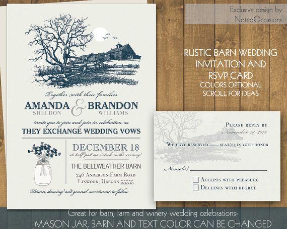 Rustic Wedding Invitation Set Navy Blue Barn Farm Wedding