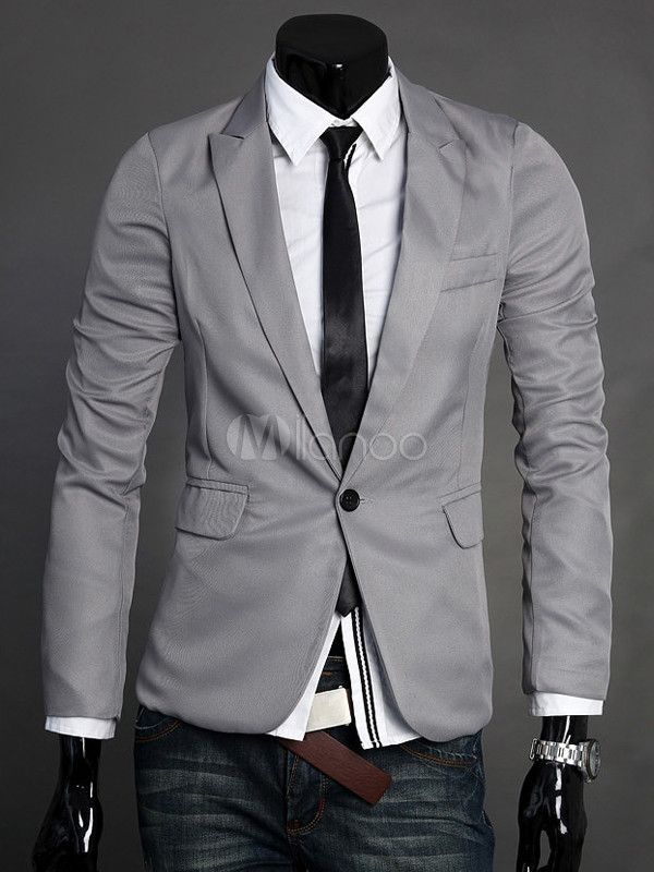 Grey Pockets Long Sleeves Cotton Men's Casual Suit - Milanoo.com