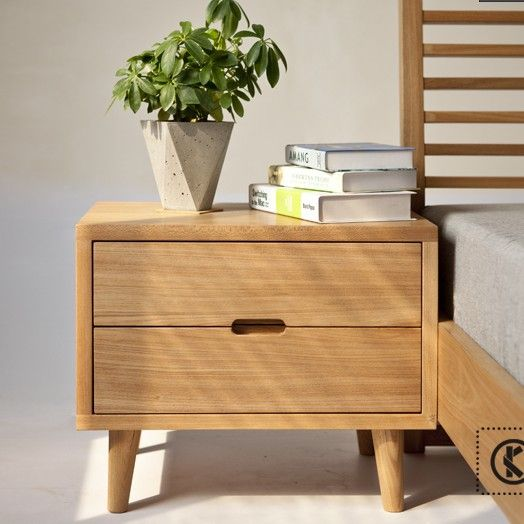 Kakawood Double Pumping Imported Elm Wood Bedside Nightstand