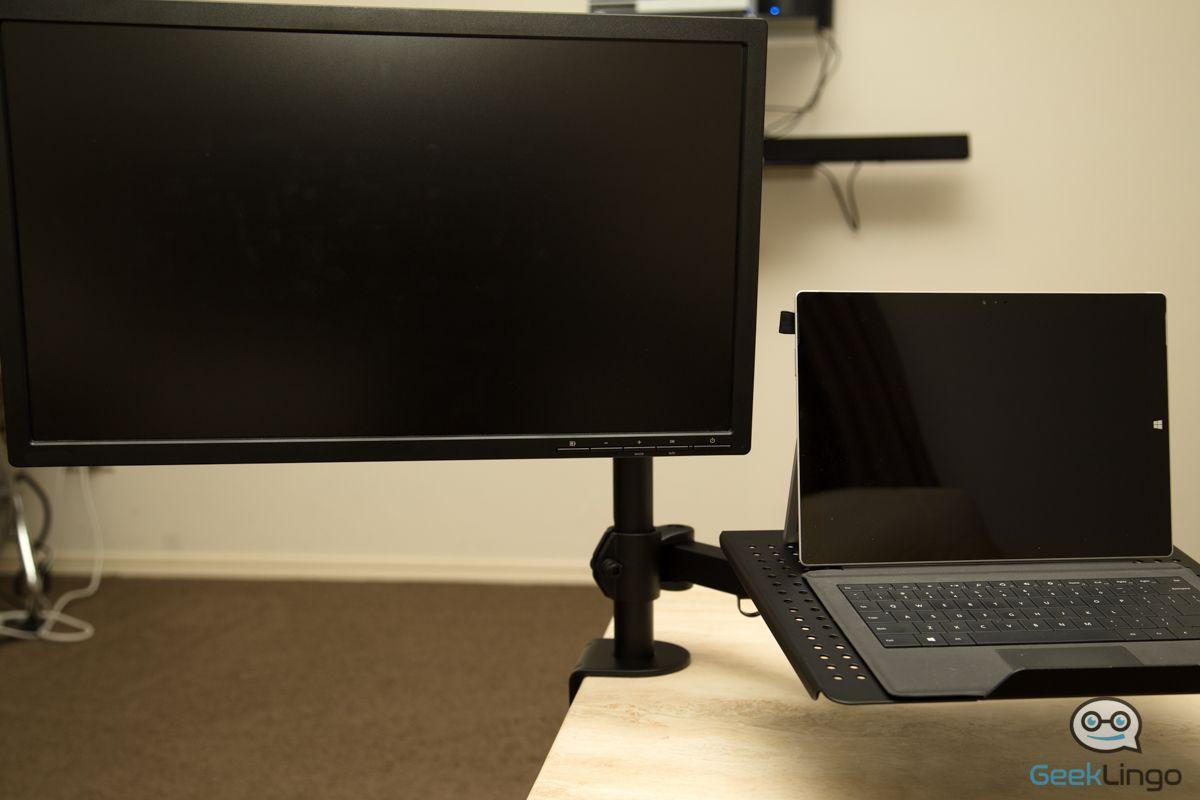 Mount It Mi 3352ltmn Laptop Desk Stand And Monitor Mount Reviewed Geeklingo Desktop Display Design Screen Setup Laptop Desk Stand Laptop Desk Monitor