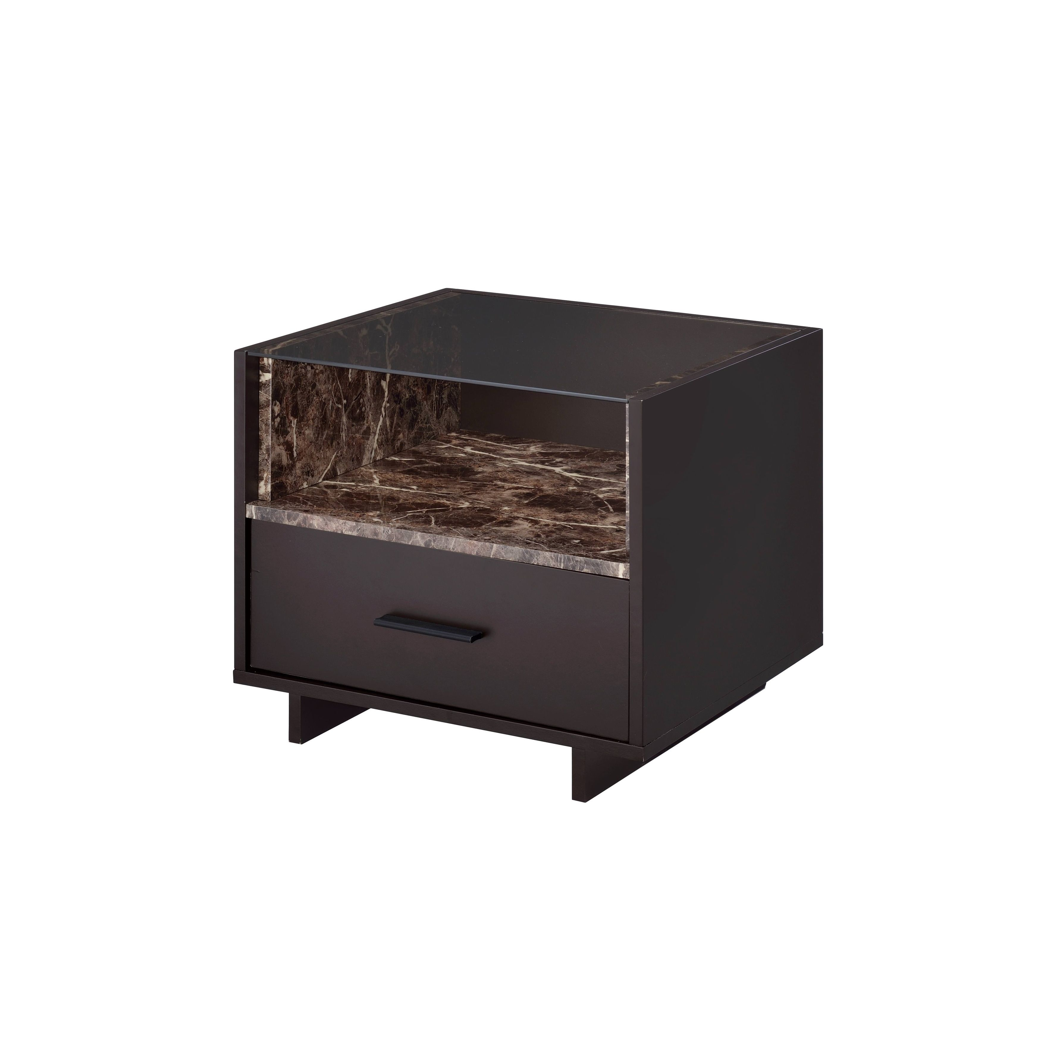 Acme Dayle Espresso Faux Marble Nightstand Brown Size 1 drawer