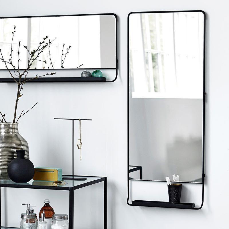 Miroir Salle De Bain Vertical 110x45 Cm Avec Cadre Metal Et