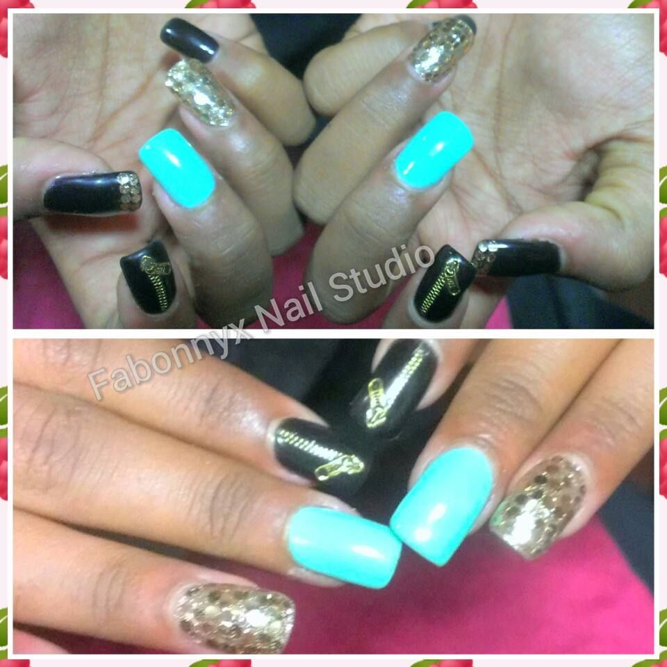 Zipper stick on funky an random nail art on gel extensions with Mint ...