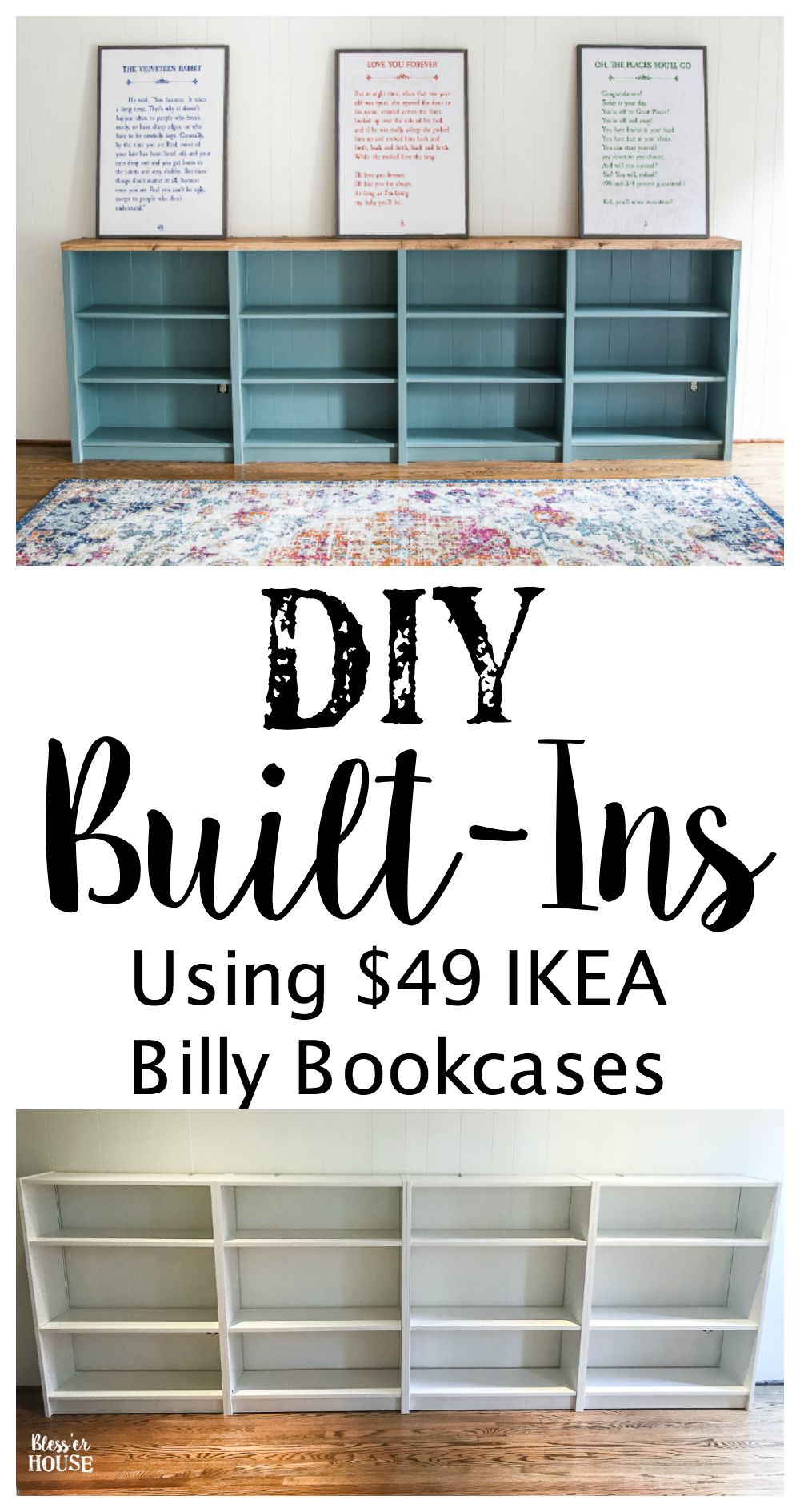 DIY Playroom Bookcase Built-Ins - Bless'er House