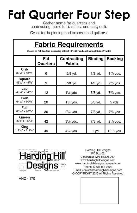 fat quarter four step quilt pattern multiple sizes pdf. Black Bedroom Furniture Sets. Home Design Ideas
