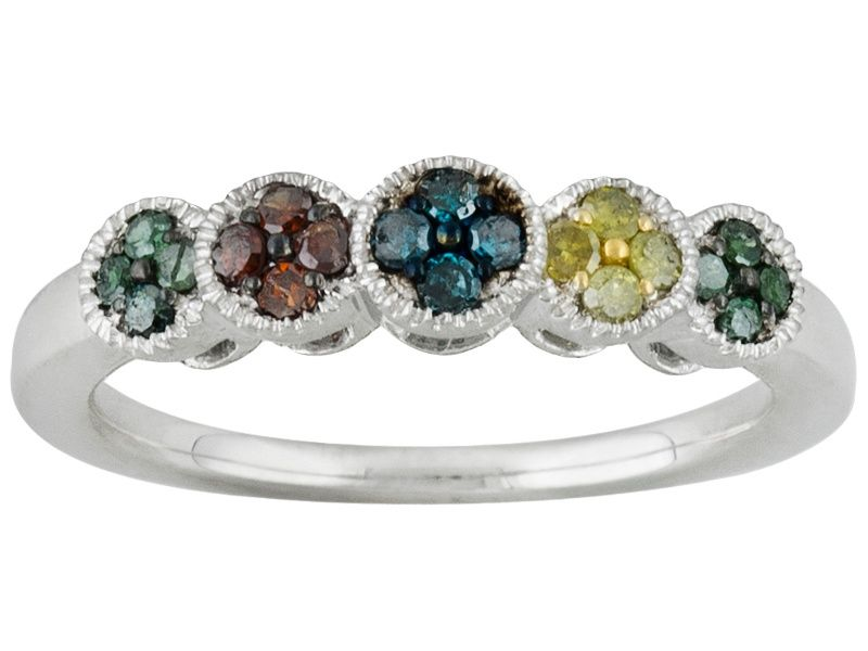 f9e166e3e PRISM MULTICOLOR DIAMONDS .25CTW ROUND RHODIUM OVER STERLING SILVER RING