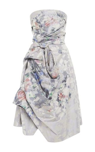 Floral Jacquard Crossover Skirt Dress by OSCAR DE LA RENTA for Preorder on Moda Operandi