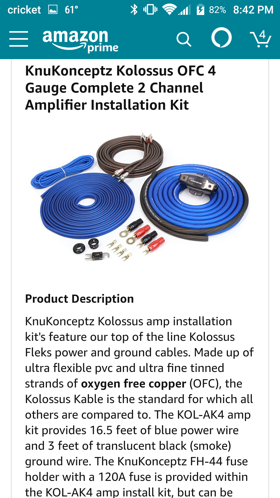 Knukonceptz Kolossus Amp Wiring Kit Or Rockford Fosgate 4 Awg Pro Gauge Amplifier Install Complete Car Audio Cables