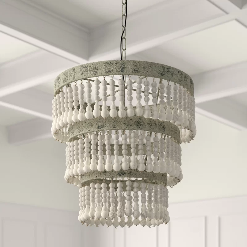 Corbin 3 Light Unique Statement Tiered Chandelier With Wood Accents In 2021 Unique Chandeliers Statement Chandeliers Beaded Light Fixture