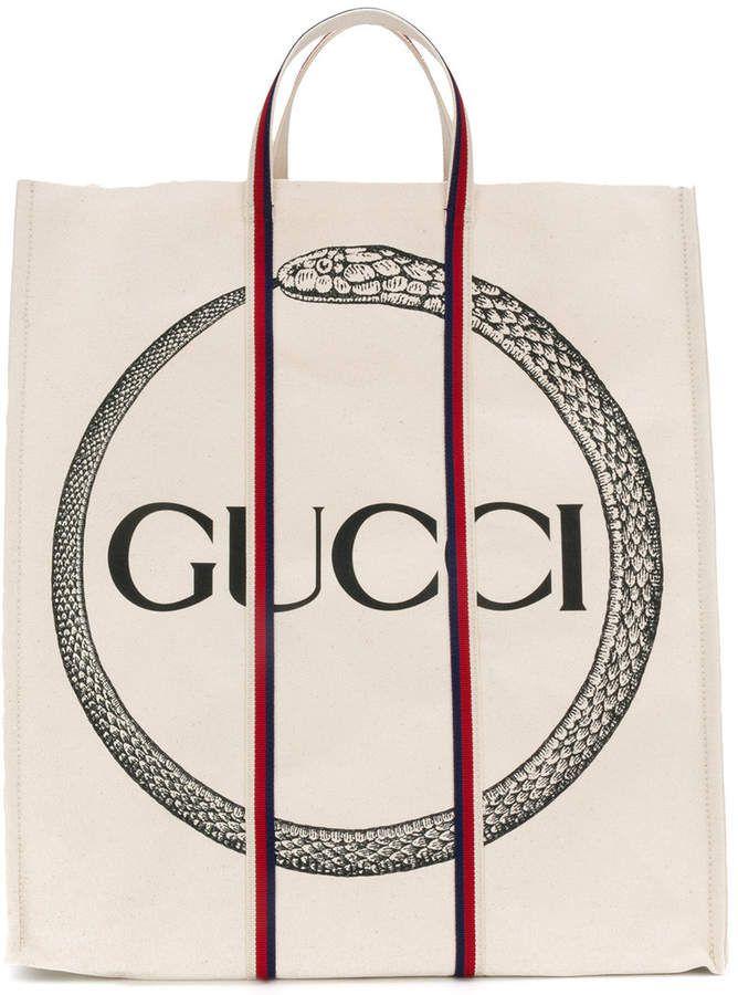 c5c50ecbfa32 Gucci Gucci Ouroboros Print Tote   Graphics   Gucci tote bag, Cotton ...